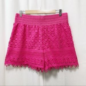 New Mix bright pink crochet lace shorts XXL NWT